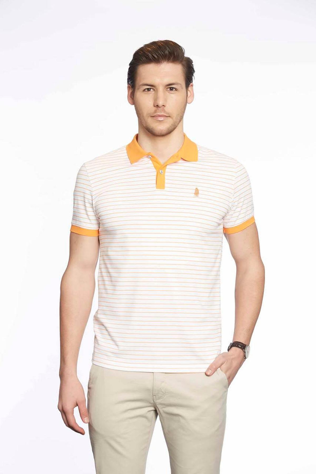 Polo Yaka Erkek T-Shirt Beyaz Melon