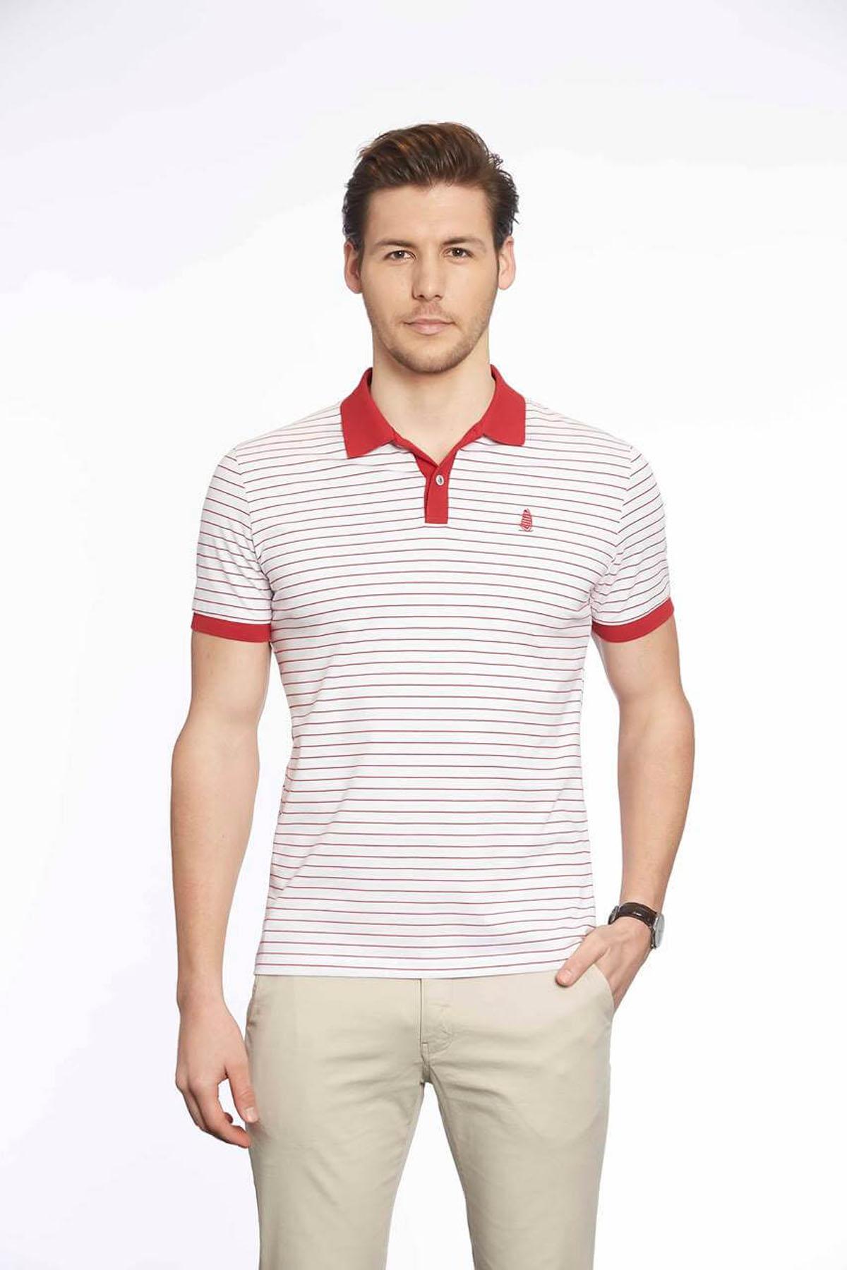 Polo Yaka Erkek T-Shirt Beyaz Kırmızı