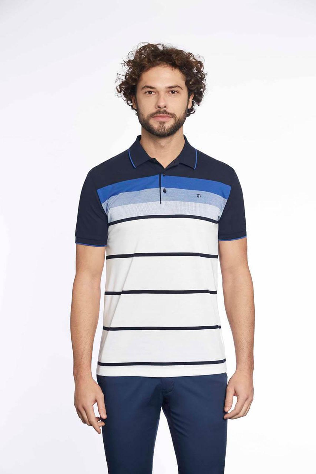 Polo Yaka Erkek T-Shirt Laci Saks