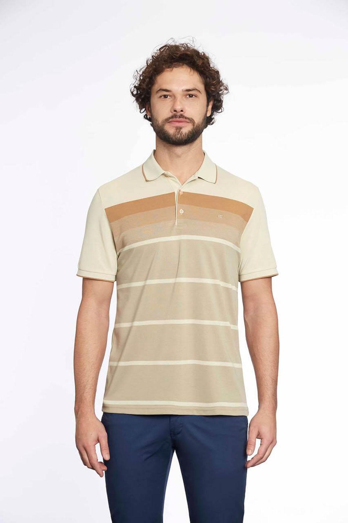 Polo Yaka Erkek T-Shirt F.Dişi Vizon