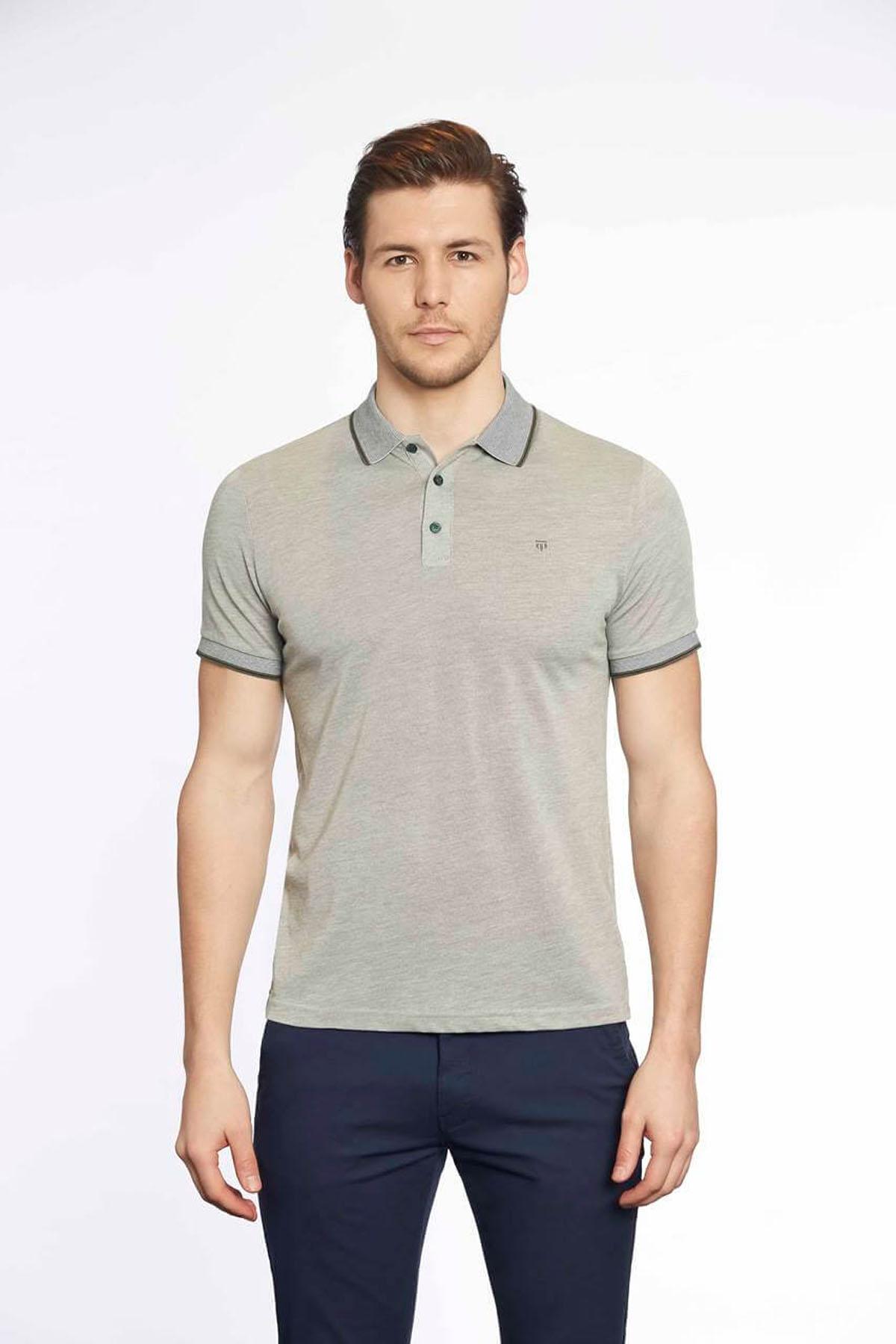 Polo Yaka Erkek T-Shirt Haki Beyaz