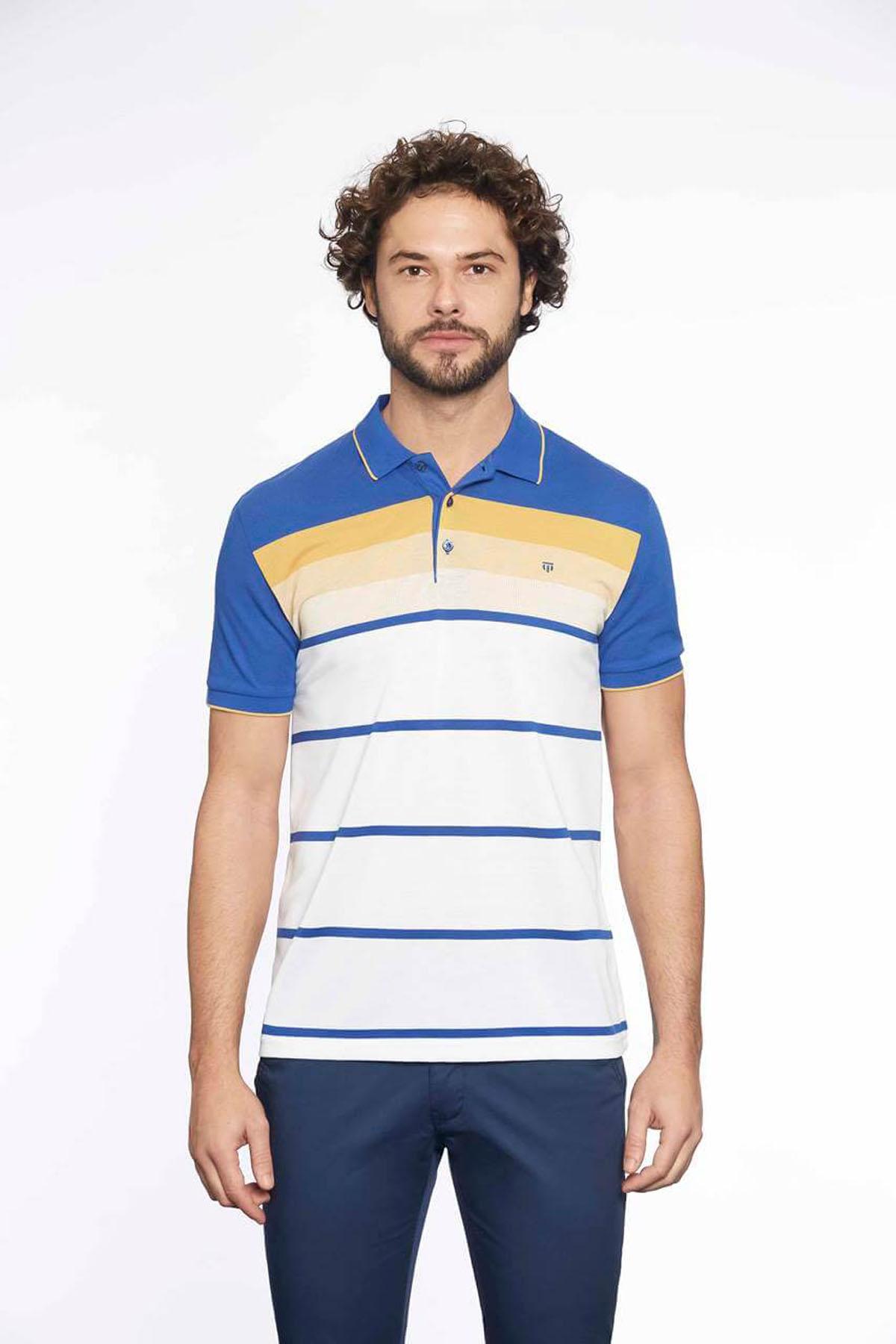 Polo Yaka Erkek T-Shirt Saks Safran