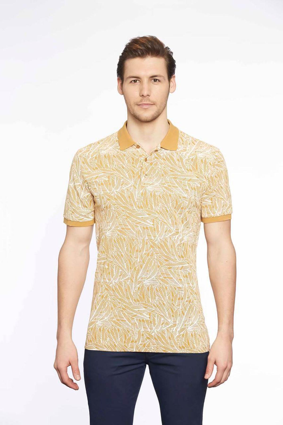 Polo Yaka Erkek T-Shirt Hardal