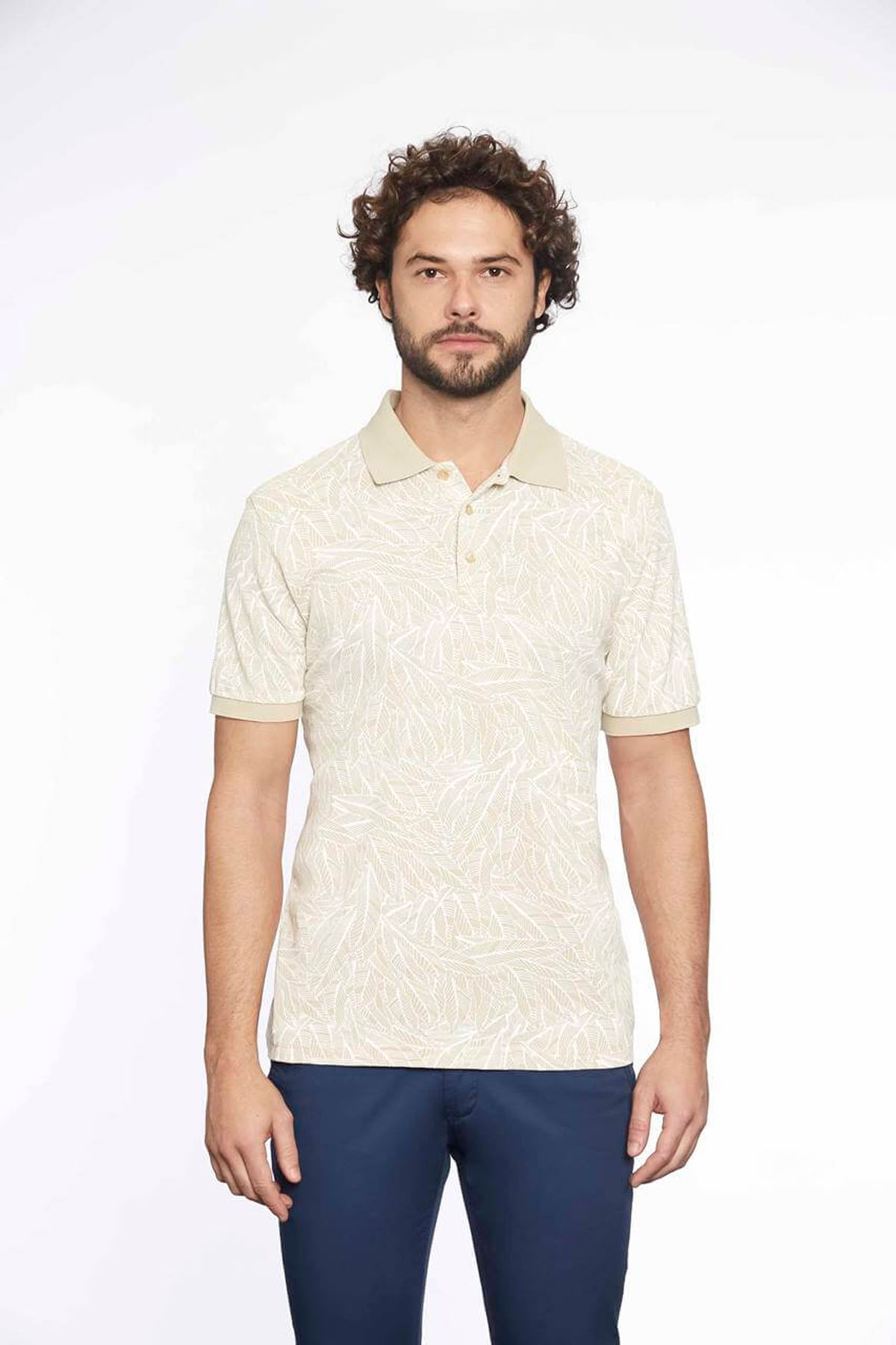 Polo Yaka Erkek T-Shirt Taş