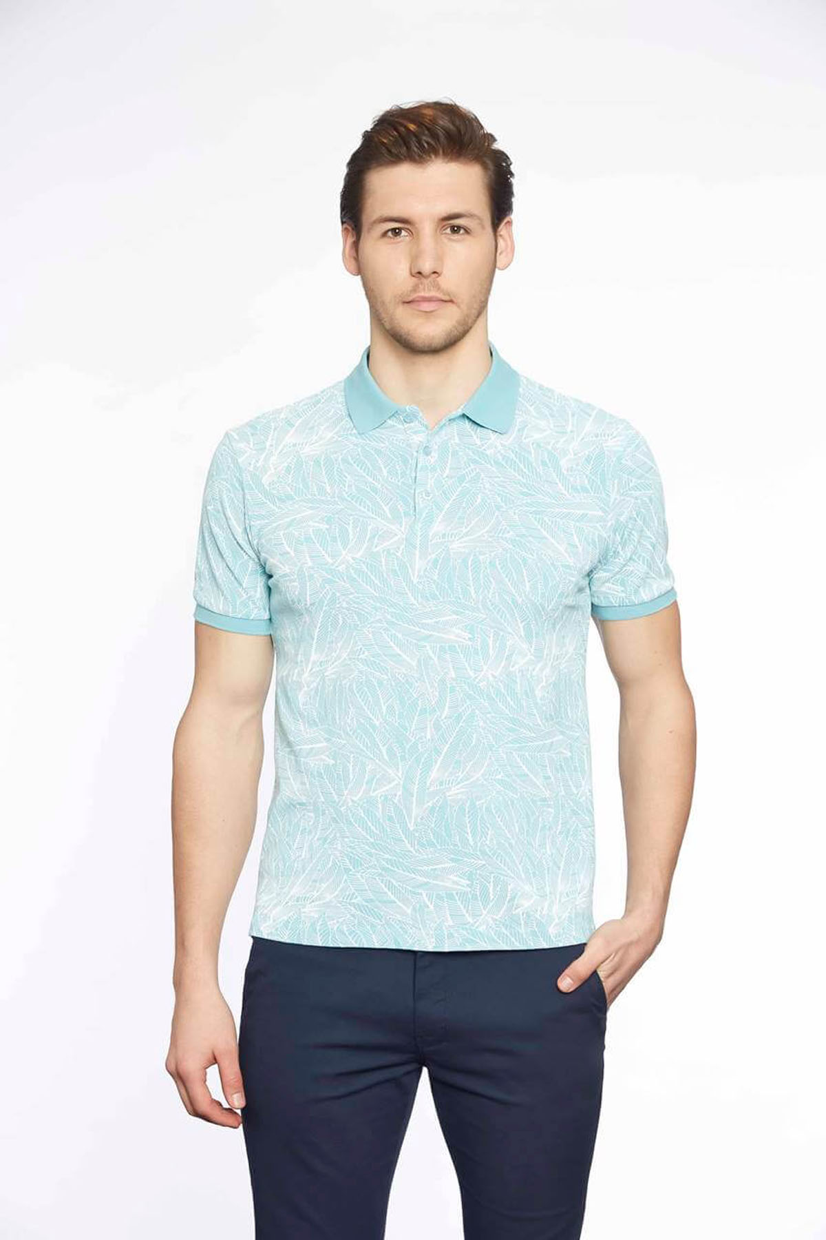 Polo Yaka Erkek T-Shirt Aqua