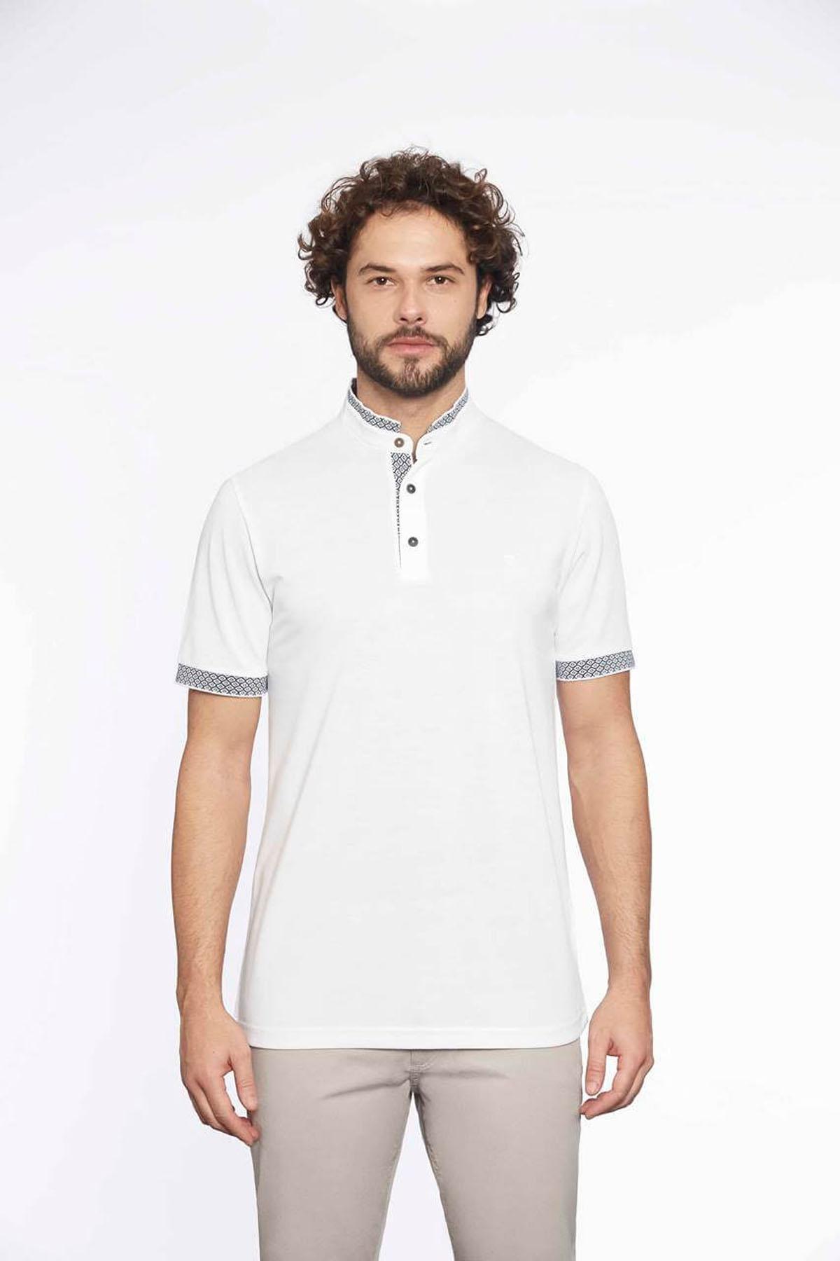 Hakim Yaka Erkek T-Shirt Beyaz
