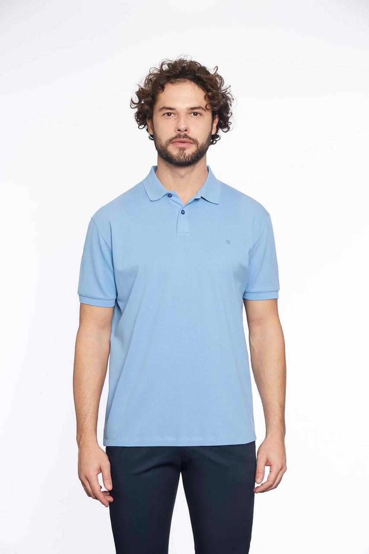 Polo Yaka Erkek T-Shirt Mavi