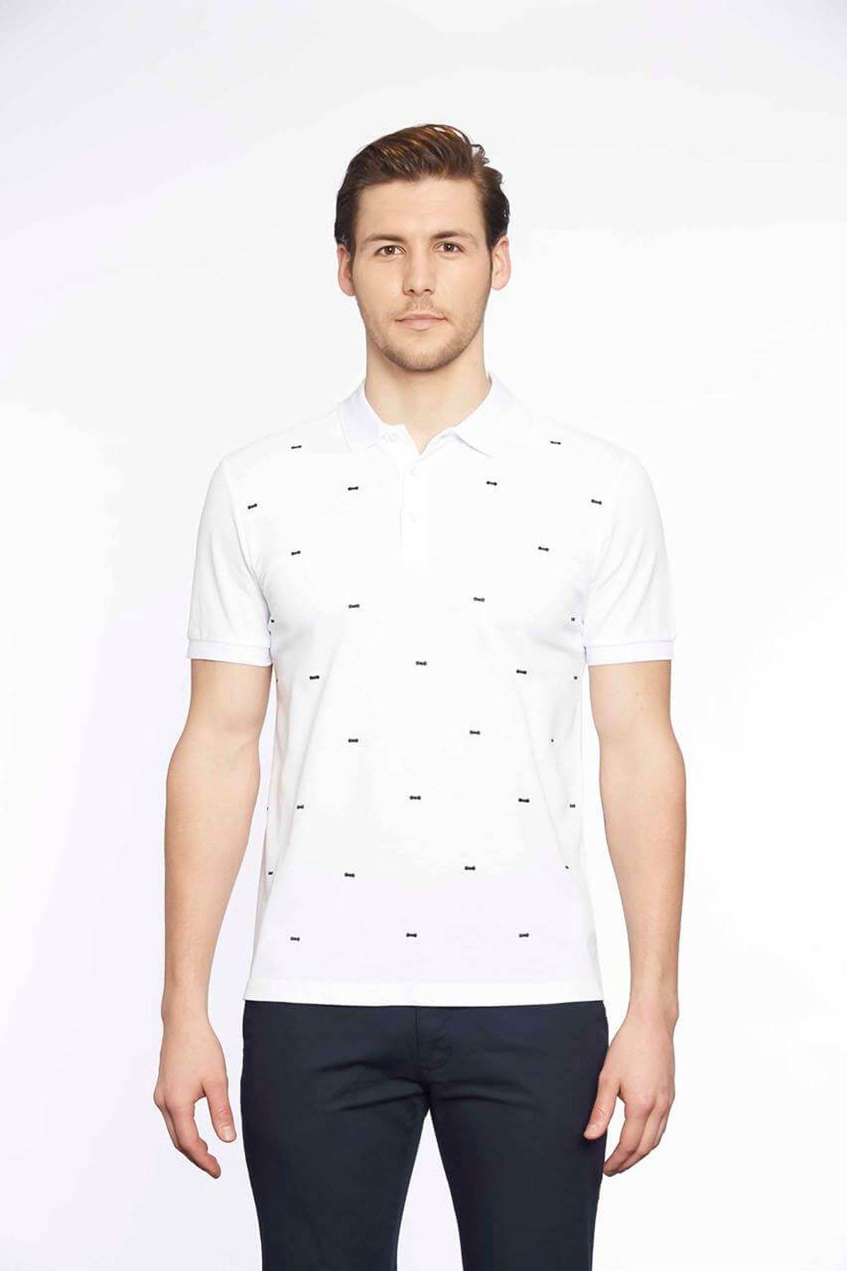 Polo Yaka Erkek T-Shirt Beyaz