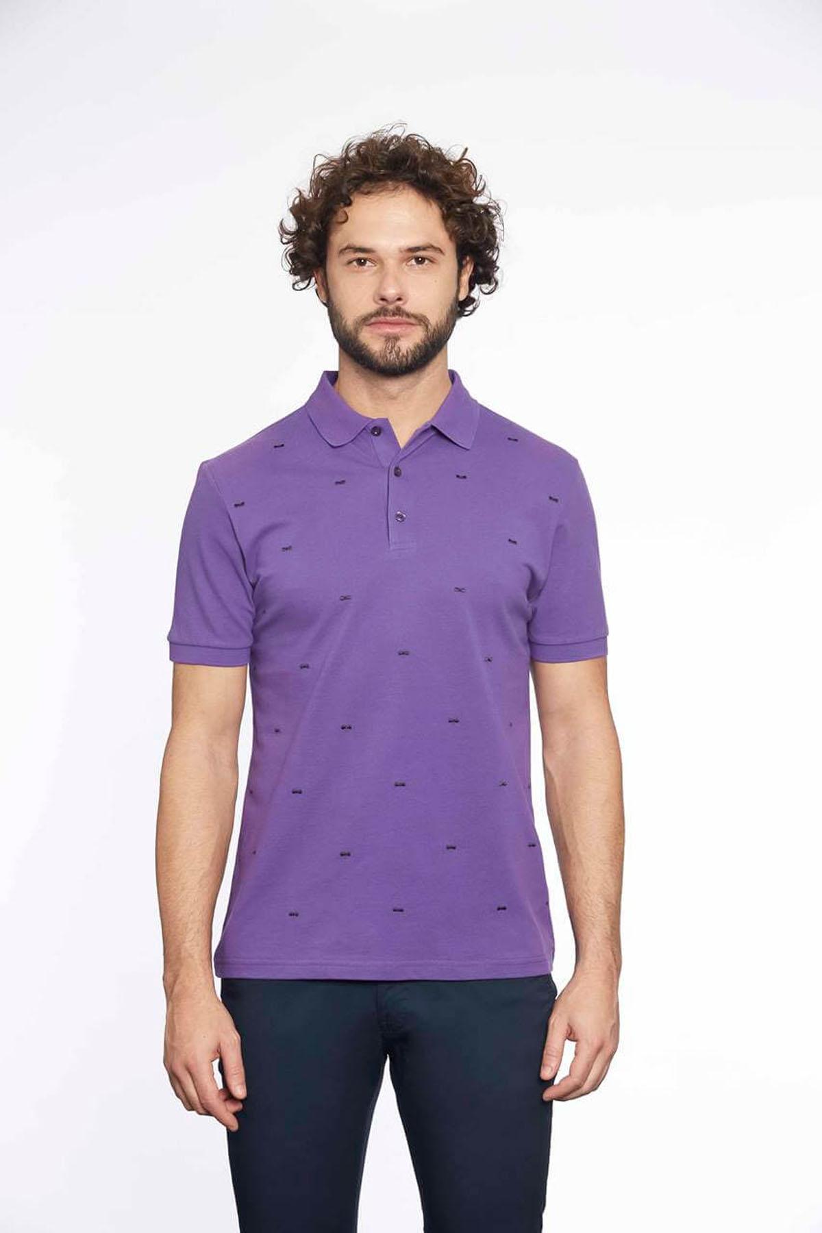 Polo Yaka Erkek T-Shirt Mor