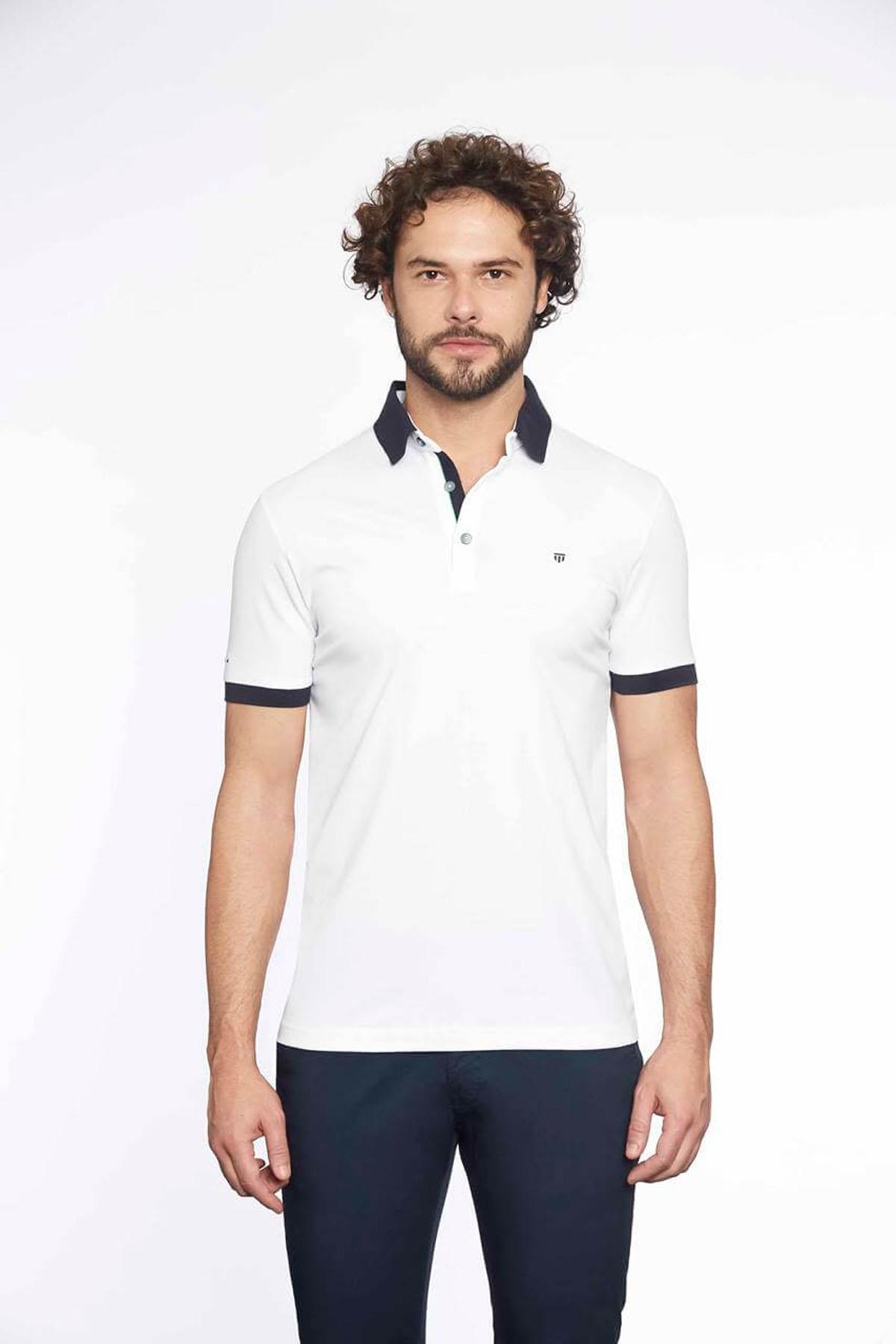 Polo Yaka Erkek T-Shirt Beyaz Laci