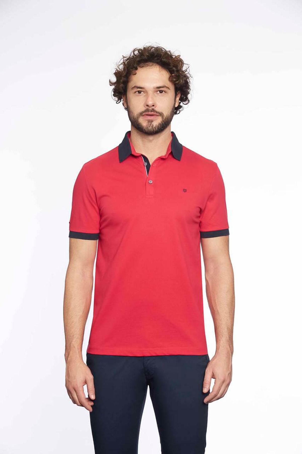 Polo Yaka Erkek T-Shirt Coral