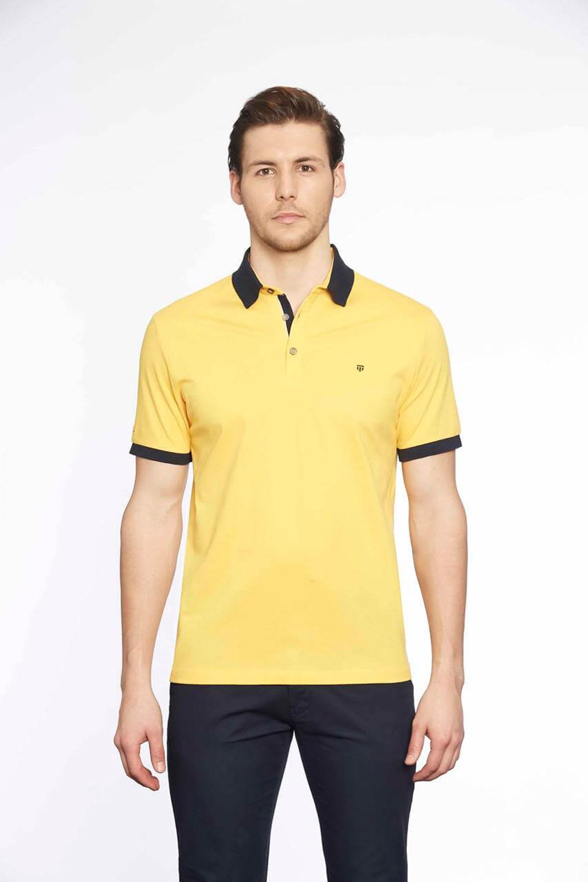 Polo Yaka Erkek T-Shirt Sarı