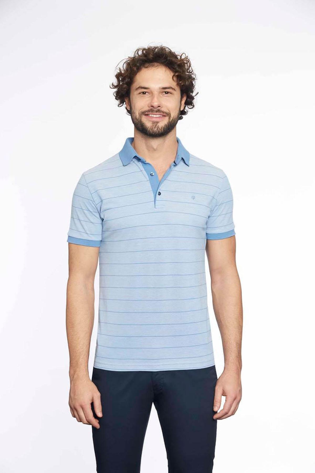 Polo Yaka Erkek T-Shirt Ç.Mavi