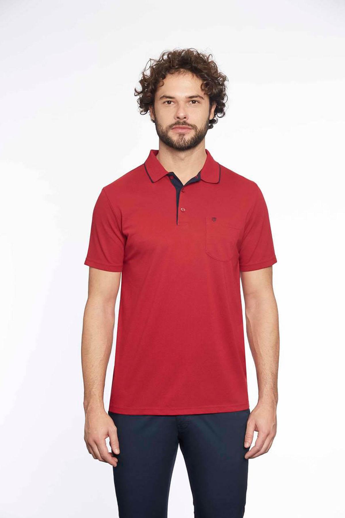Polo Yaka Erkek T-Shirt M.Kırmızı