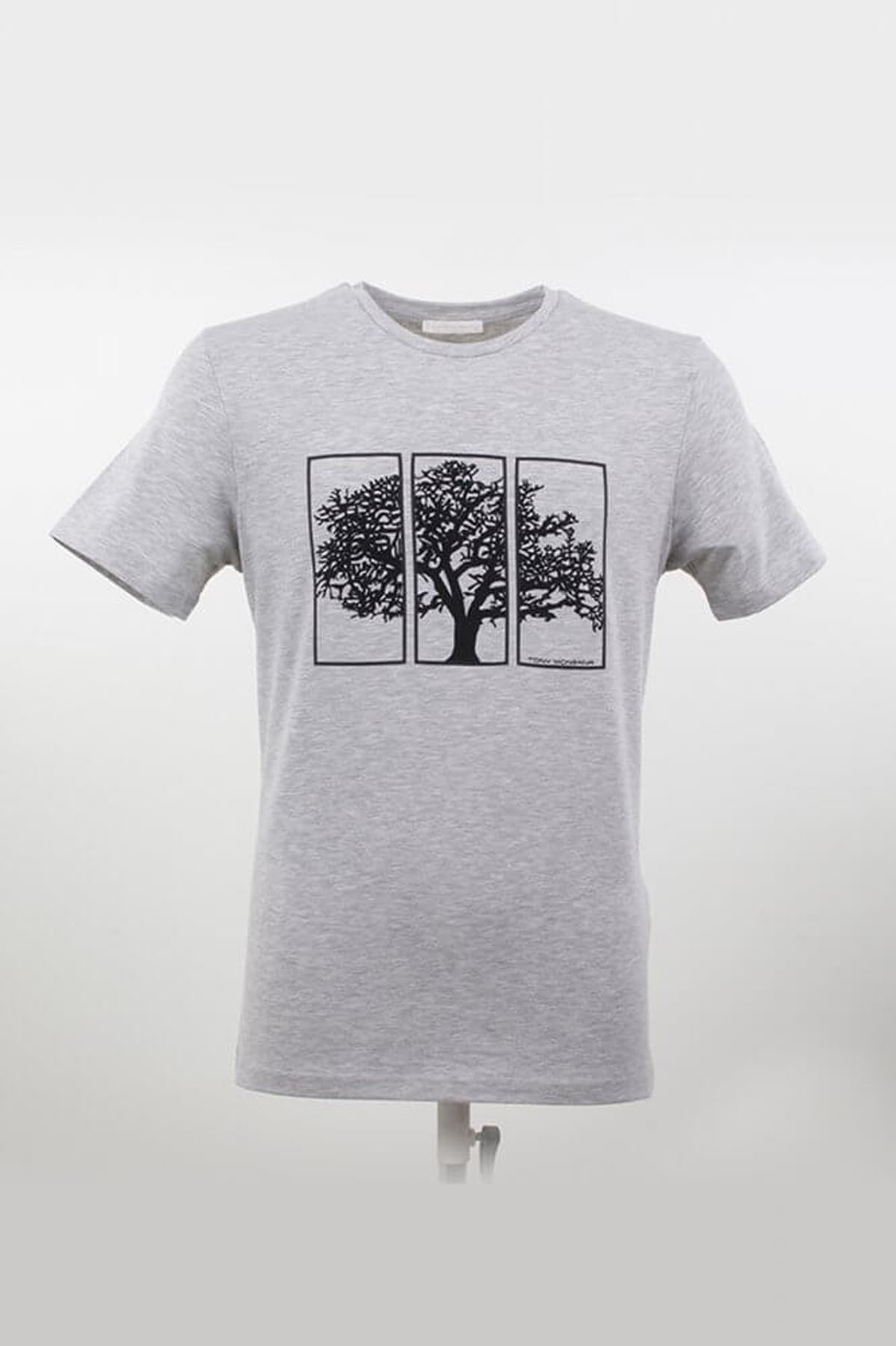 Bisiklet Yaka Ağaç Desenli Grimelanj T-Shirt