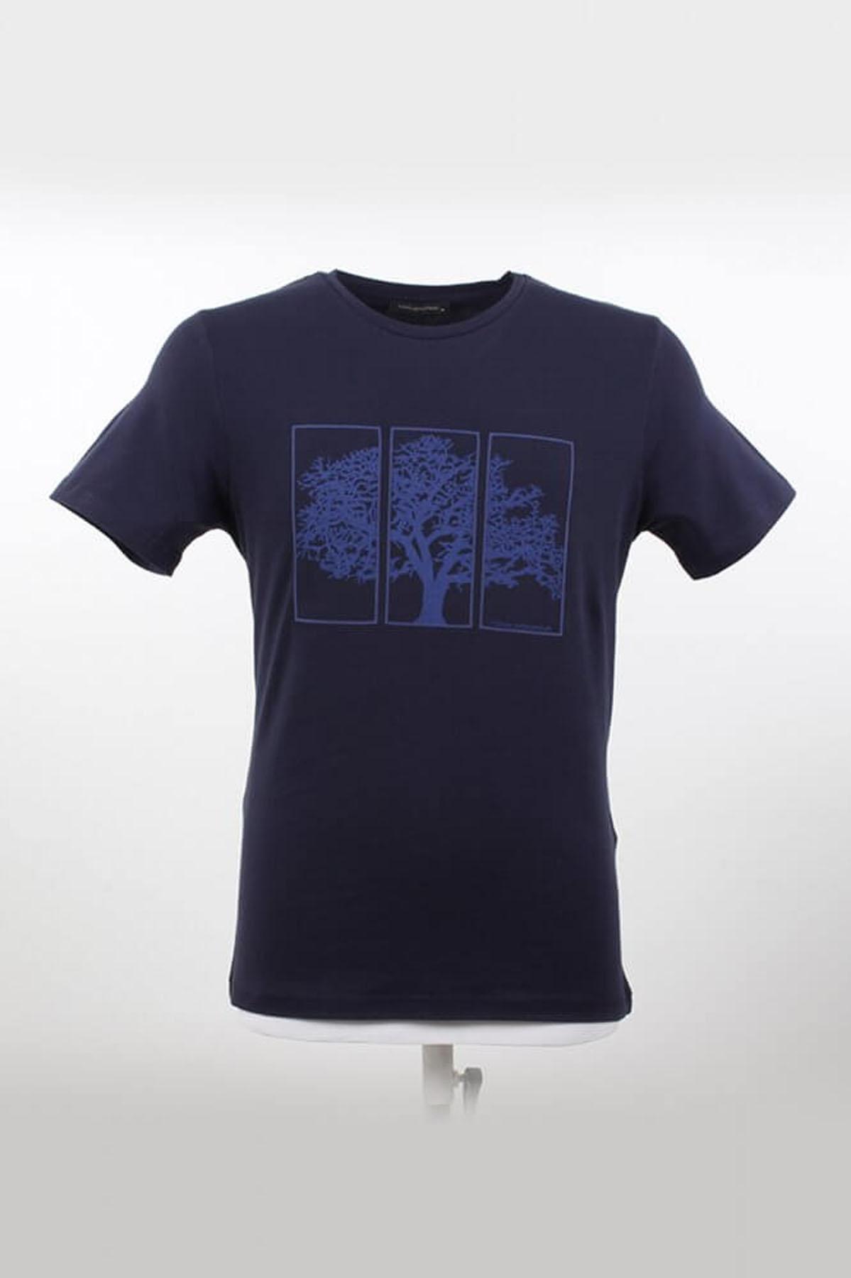 Bisiklet Yaka Ağaç Desenli Lacivert T-Shirt