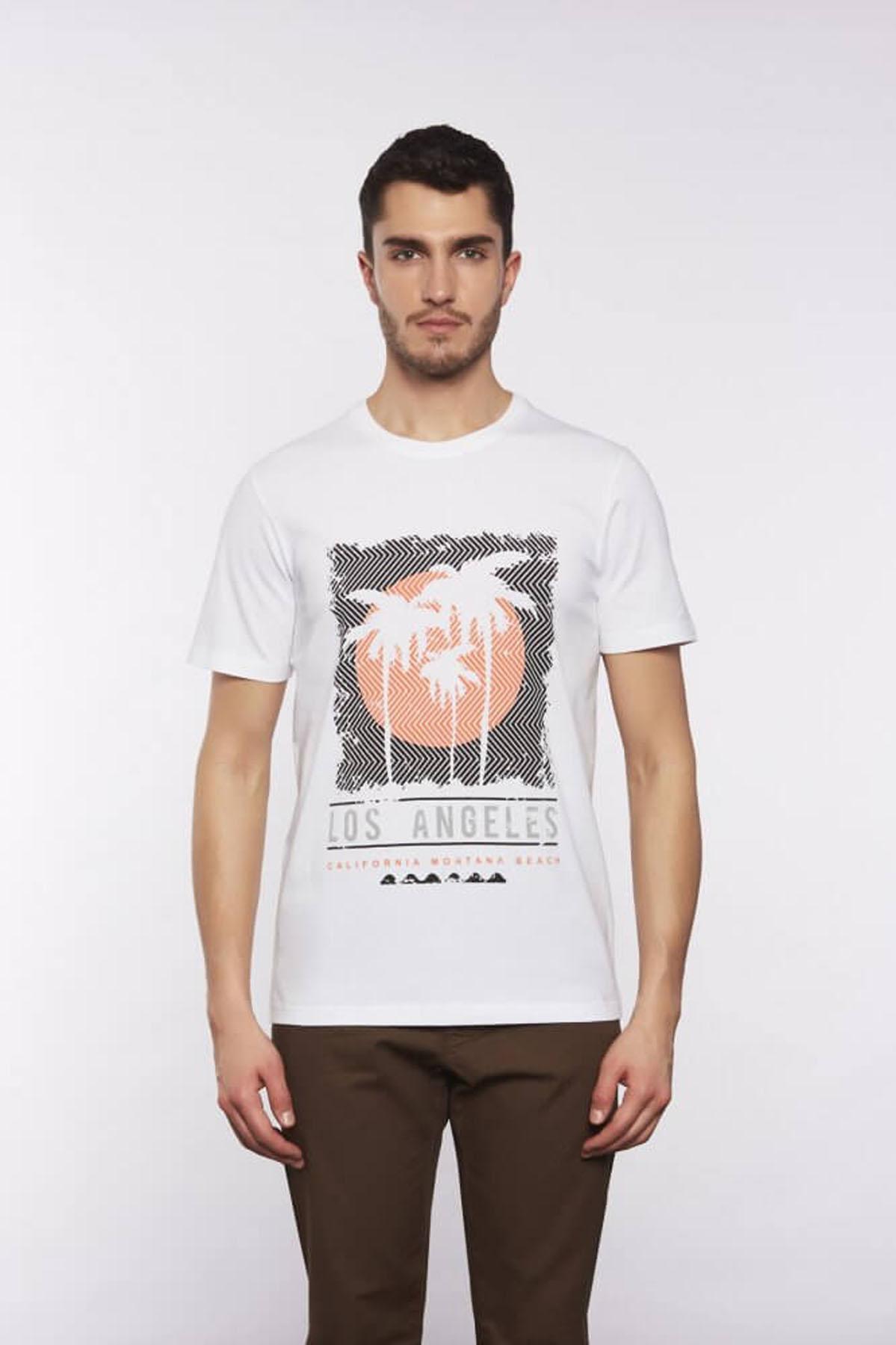 Bisiklet Yaka Desenli Beyaz T-Shirt