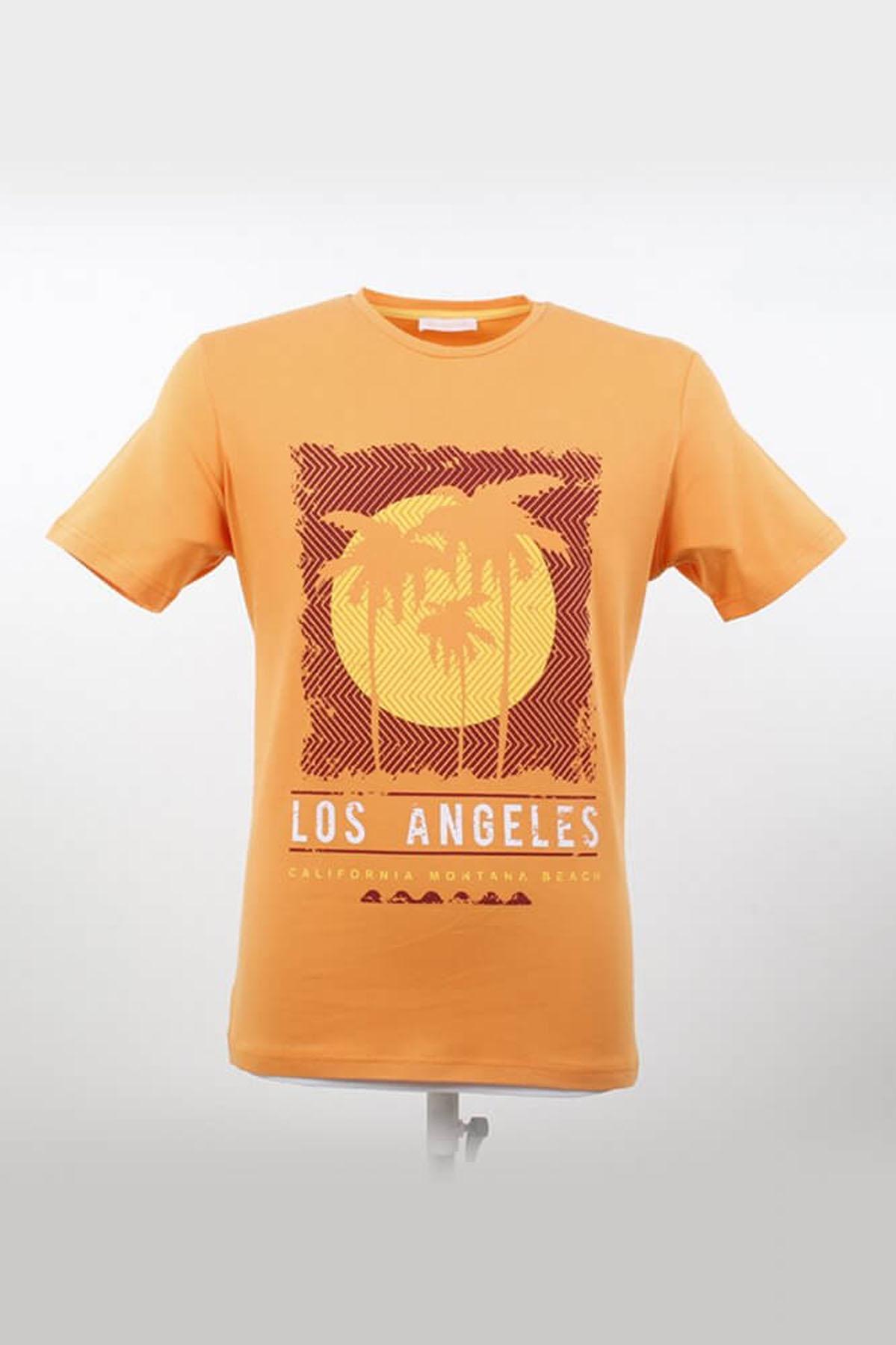 Bisiklet Yaka Desenli Melon T-Shirt