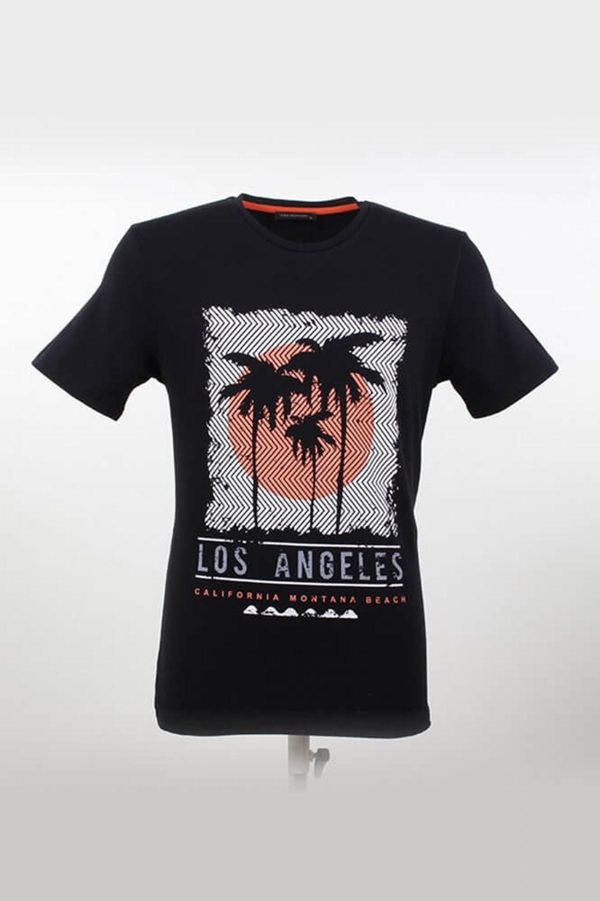 Bisiklet Yaka Desenli Siyah T-Shirt
