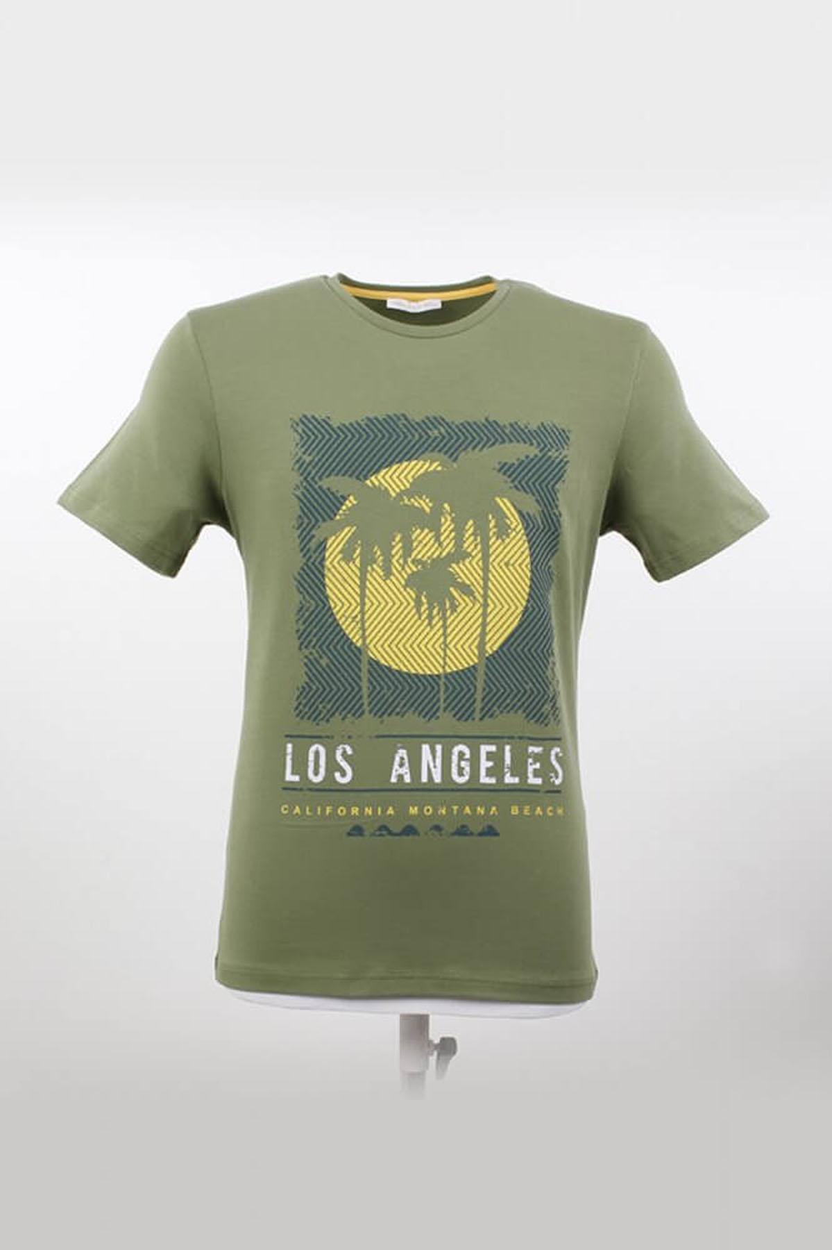 Bisiklet Yaka Desenli Yeşil T-Shirt