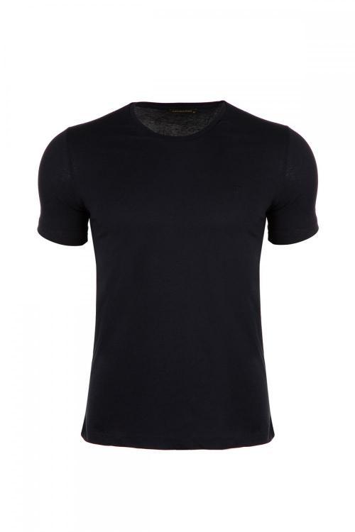 Büyük Beden %100 Pamuk Bisiklet Yaka T-Shirt