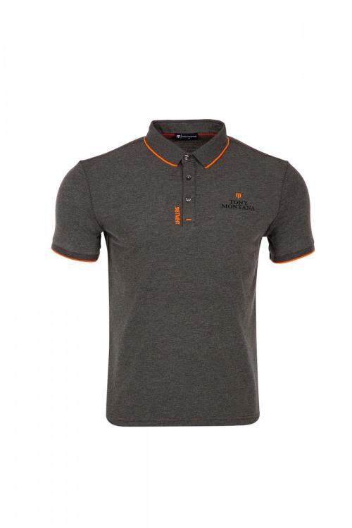 Büyük Beden Baskı Detaylı Polo Yaka T-Shirt