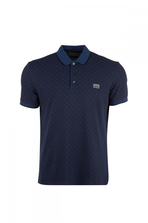 Large Size Print Detailed Polo Neck T-Shirt