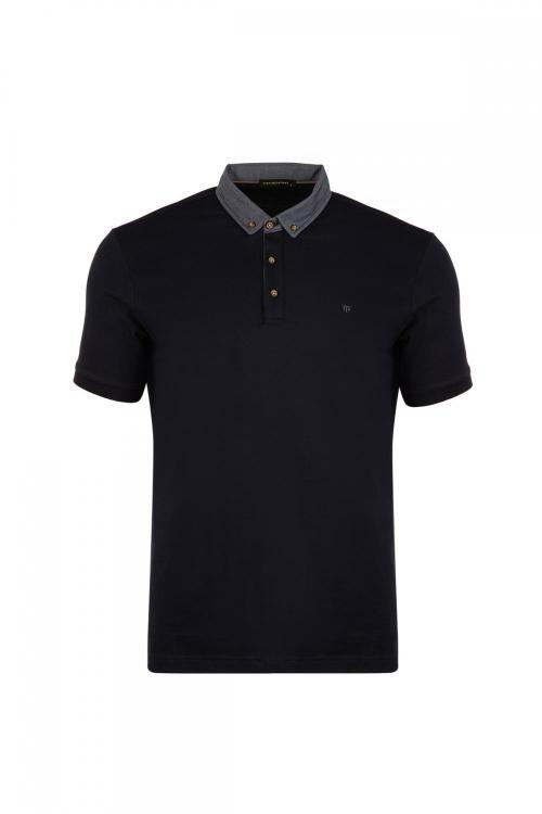 Large Size Embroidery Detailed Polo Neck T-Shirt