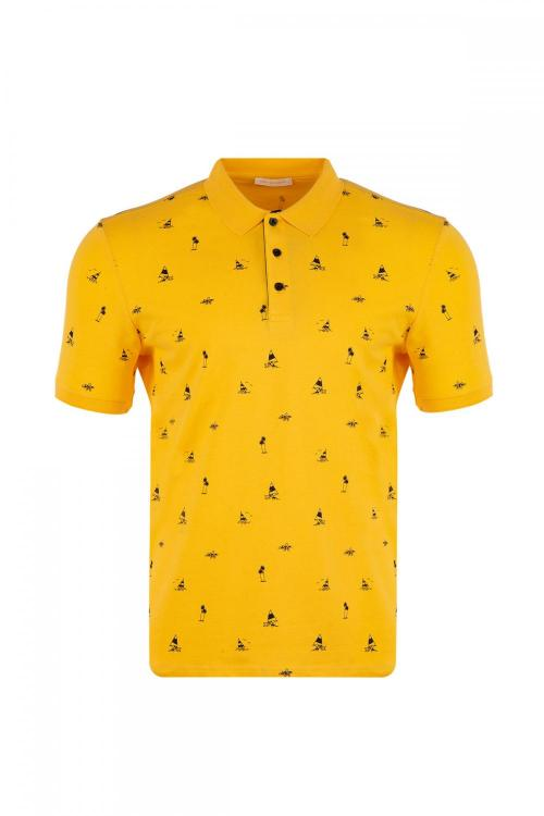 Large Size Polo Neck Printed T-Shirt