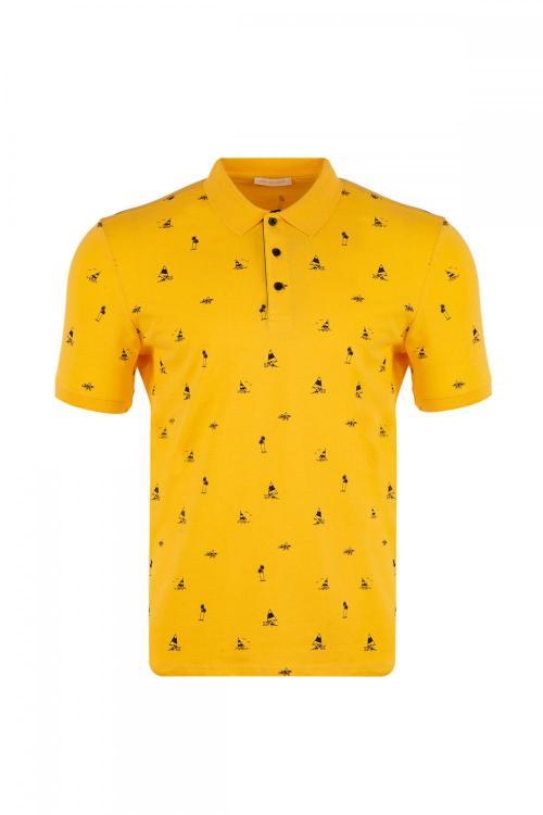 Büyük Beden Polo Yaka Baskılı T-Shirt