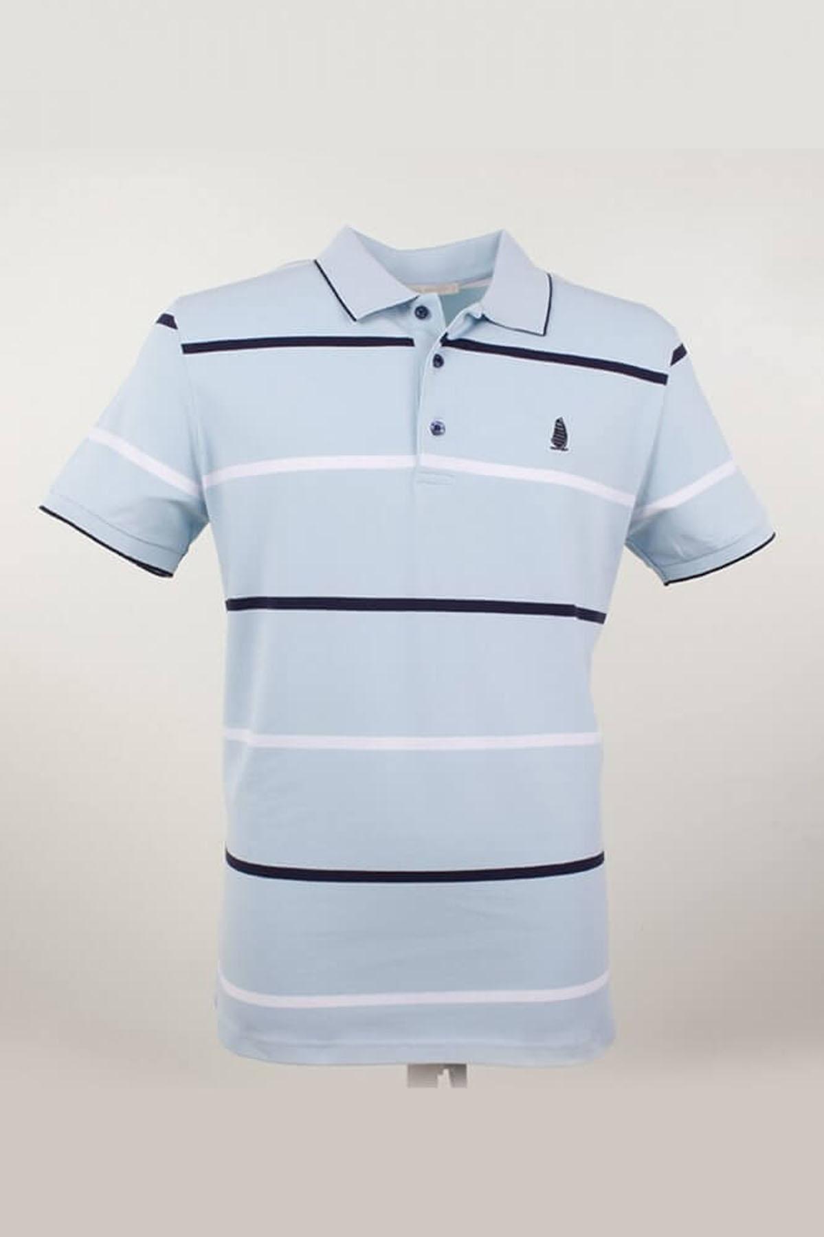 Büyük Beden Polo Yaka Çizgili Mavi T-Shirt