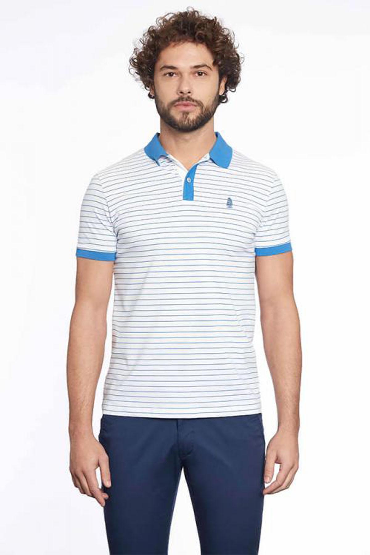 Büyük Beden Polo Yaka Çizgili T-Shirt