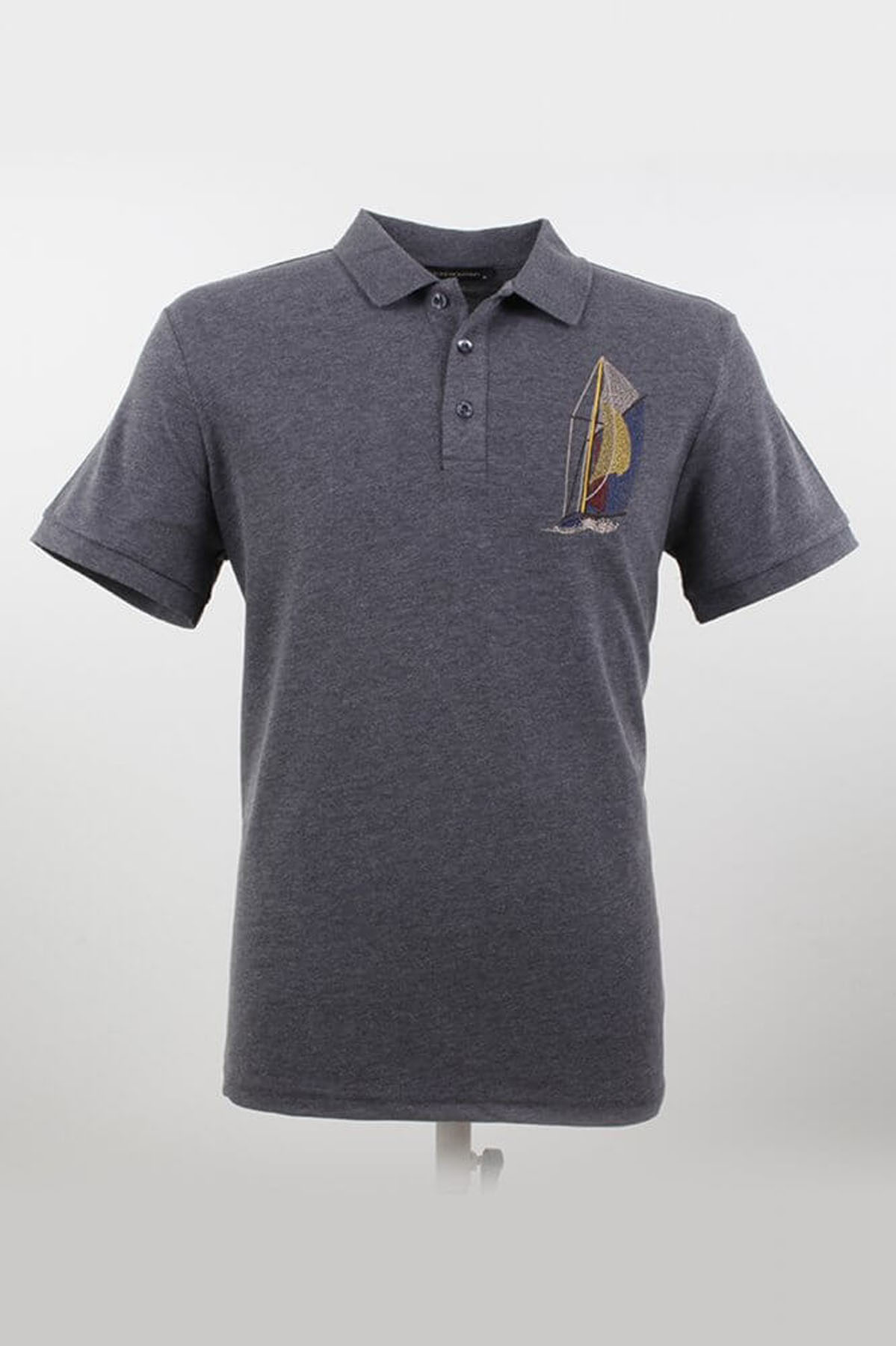 Büyük Beden Polo Yaka Desenli Fumel T-Shirt