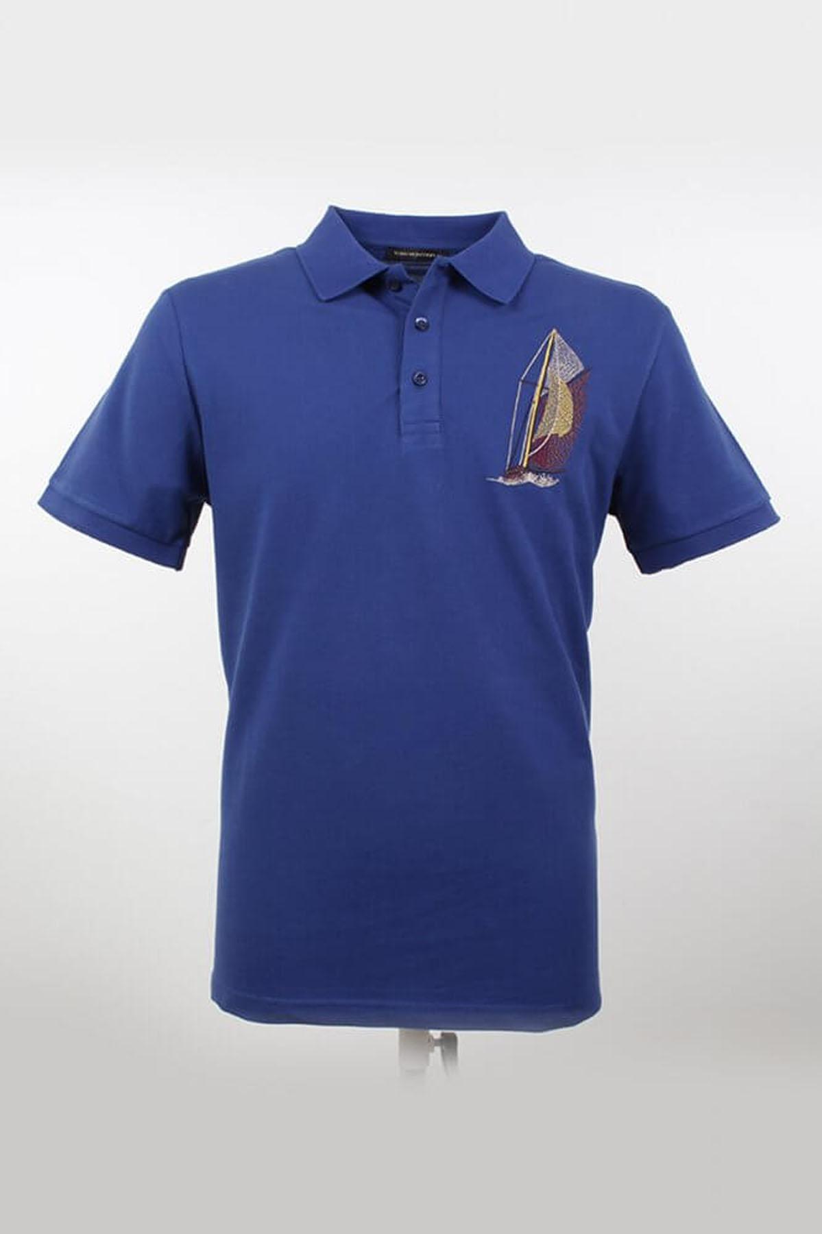 Büyük Beden Polo Yaka Desenli Marine T-Shirt