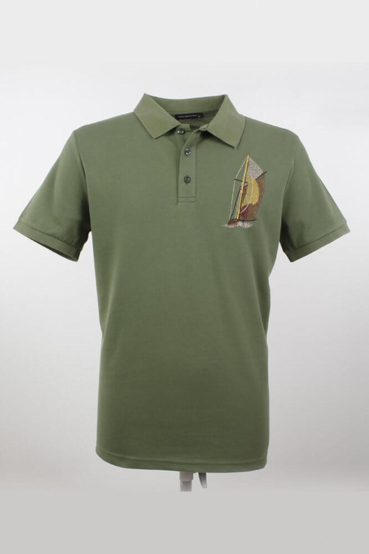 Büyük Beden Polo Yaka Desenli Yeşil T-Shirt