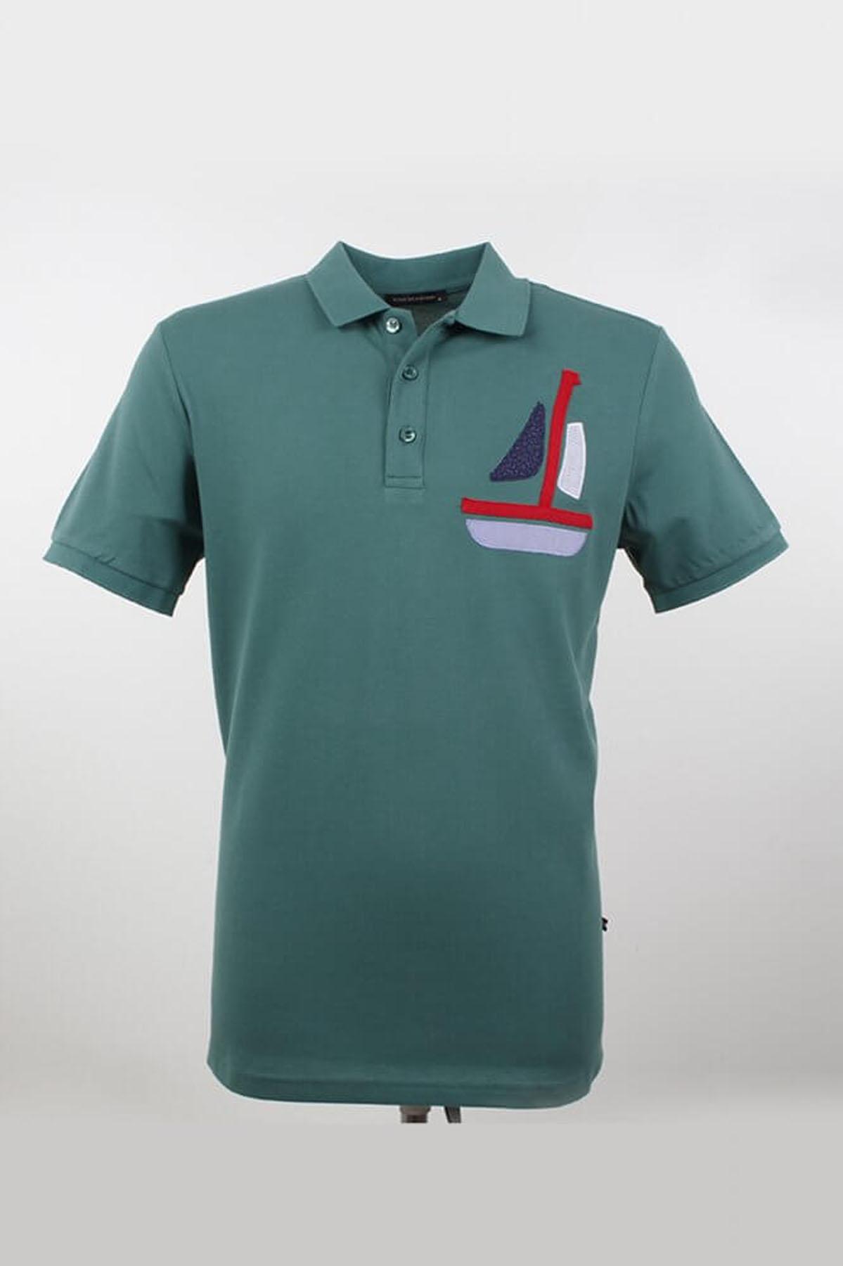 Büyük Beden Polo Yaka Gemici Nefti T-Shirt