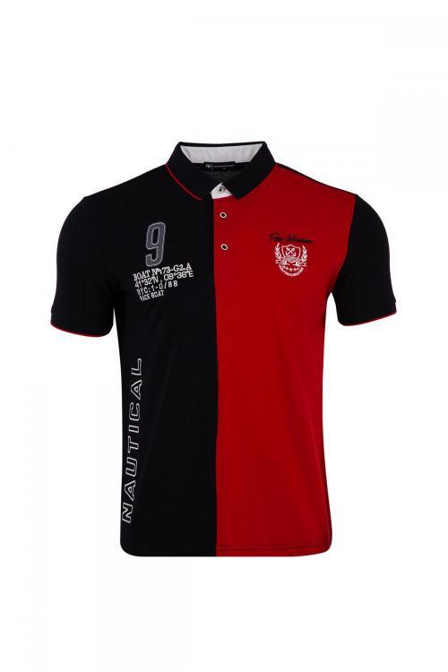 Büyük Beden Polo Yaka Parçalı T-Shirt
