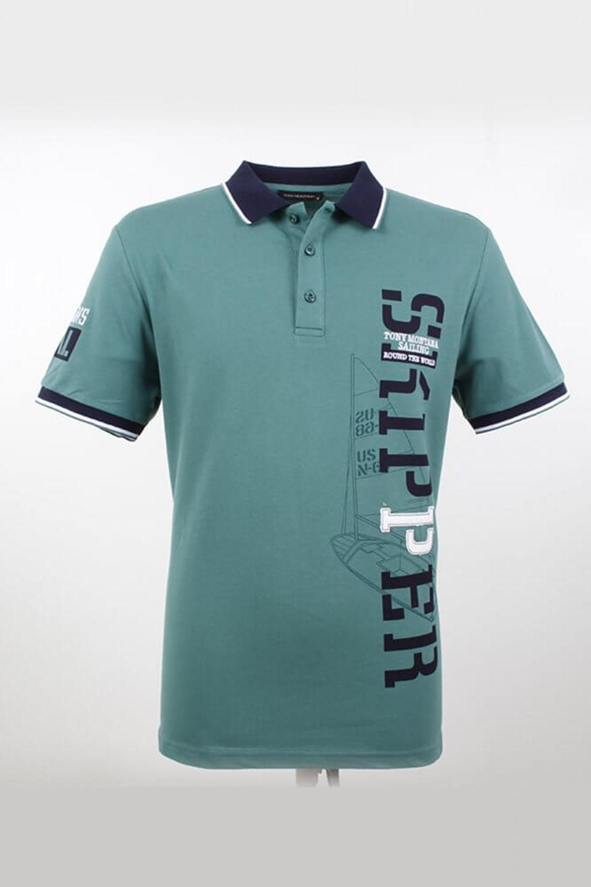Büyük Beden Polo Yaka Yazılı Nefti T-Shirt