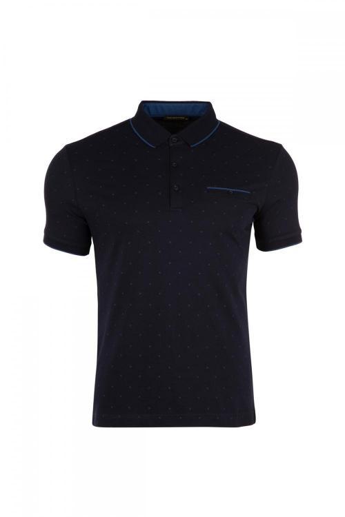 Polo Yaka Baskılı Cepli T-shirt
