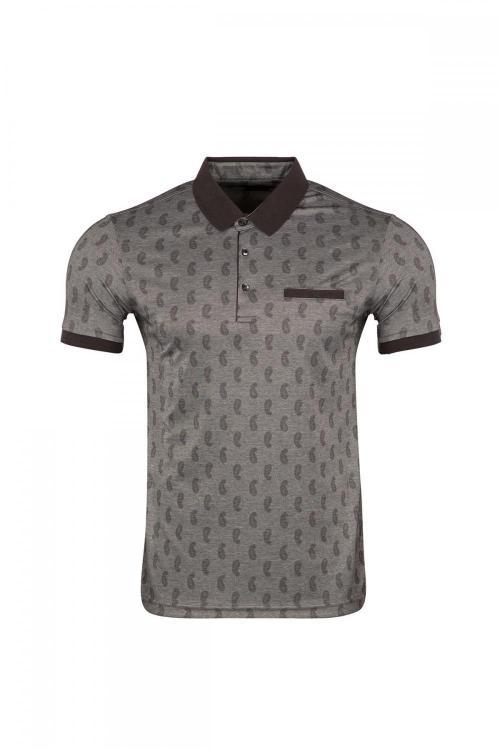 Polo Collar Printed T-shirt with Pocket