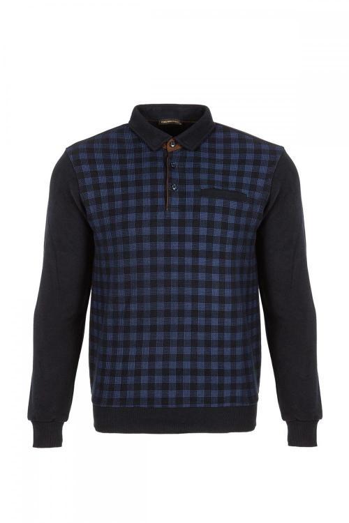 Polo Yaka Baskılı Sweatshirt