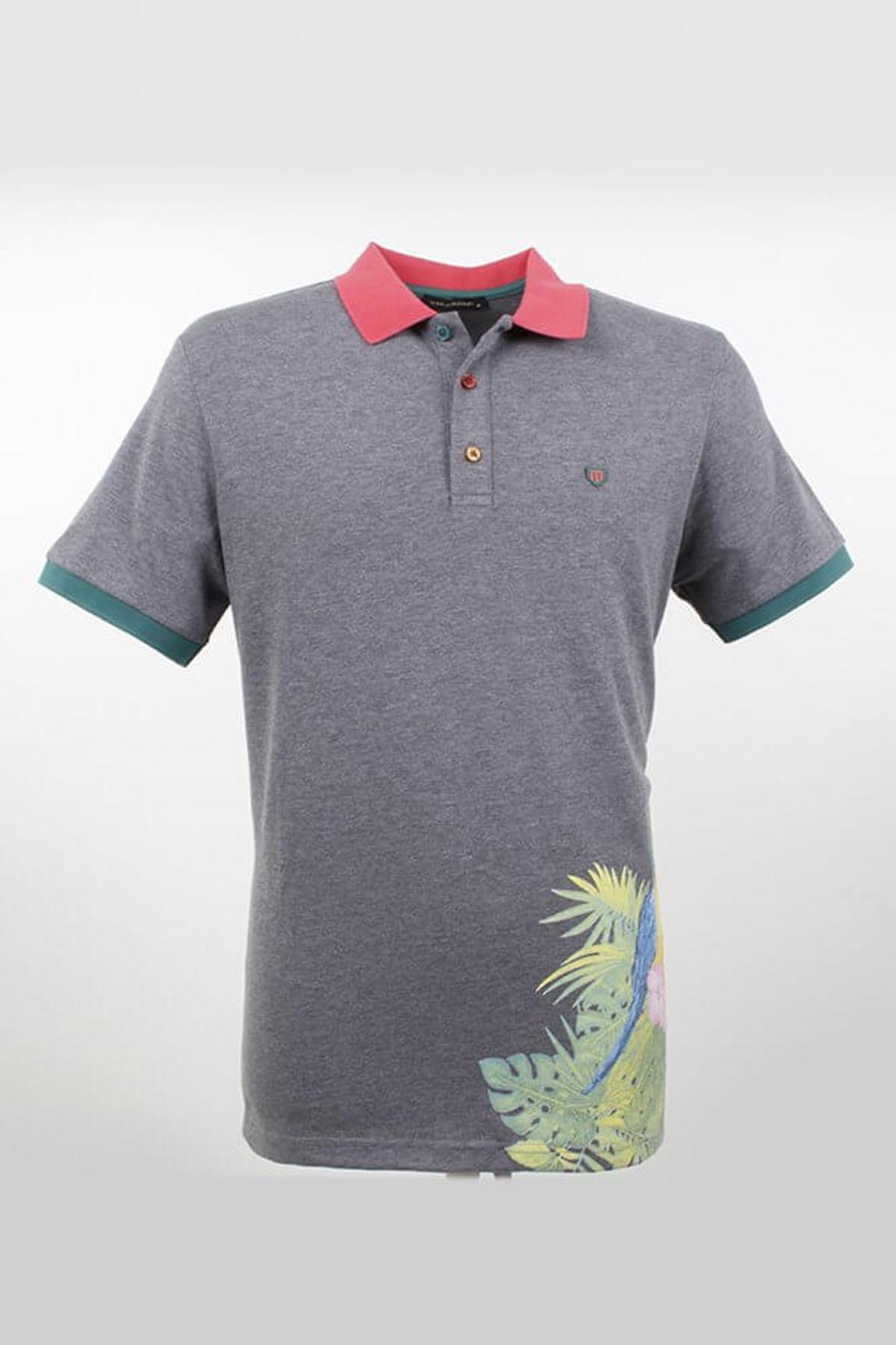 Polo Yaka Çiçek Desenli Fumel T-Shirt