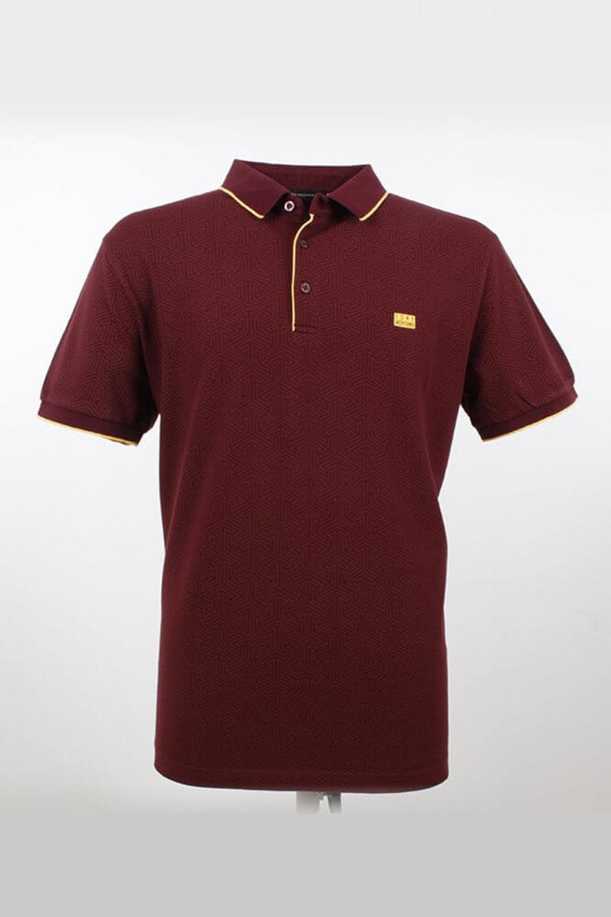 Polo Yaka Çizgi Detaylı K.Bordo T-Shirt