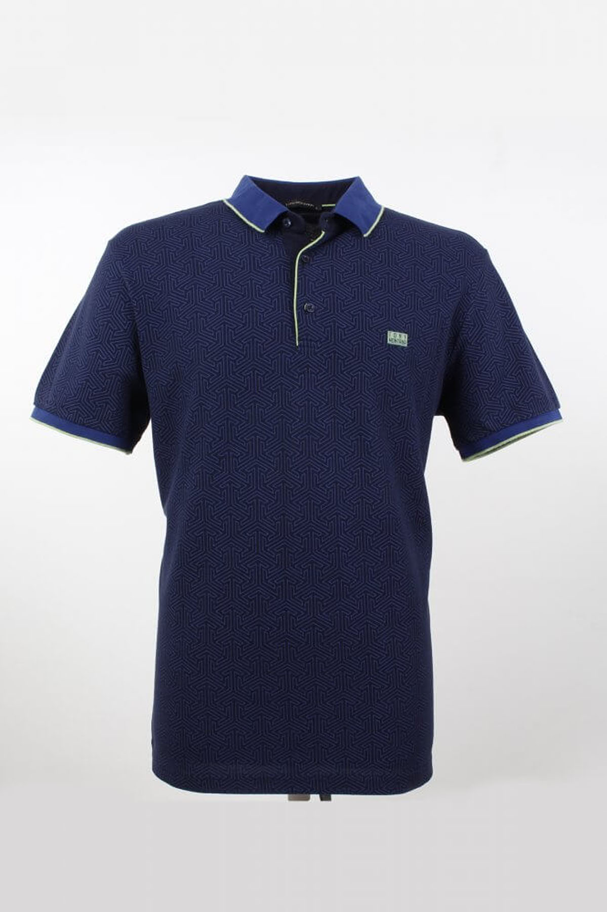 Polo Yaka Çizgi Detaylı Lacivert T-Shirt