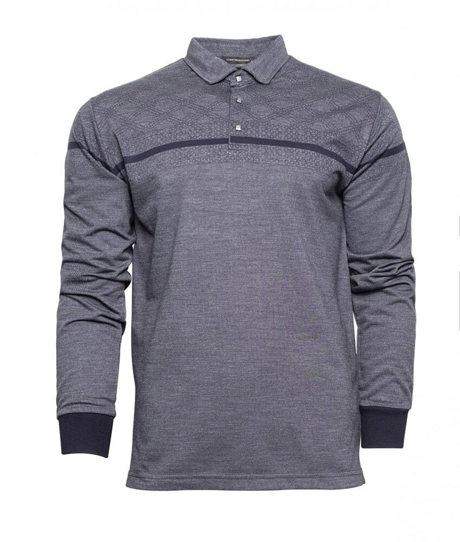 Erkek Polo Yaka Çizgili Sweatshirt Lacivert-Fumel