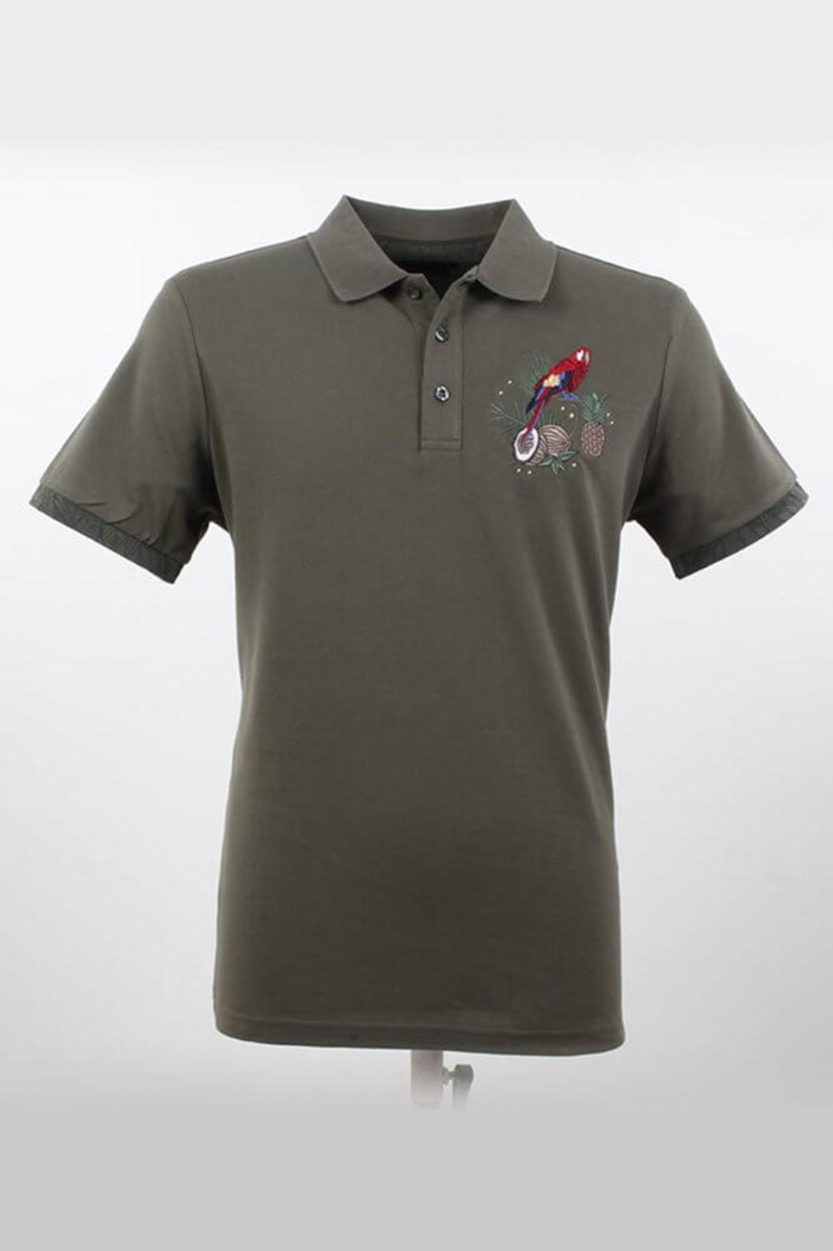 Polo Yaka Desenli Çağla T-Shirt