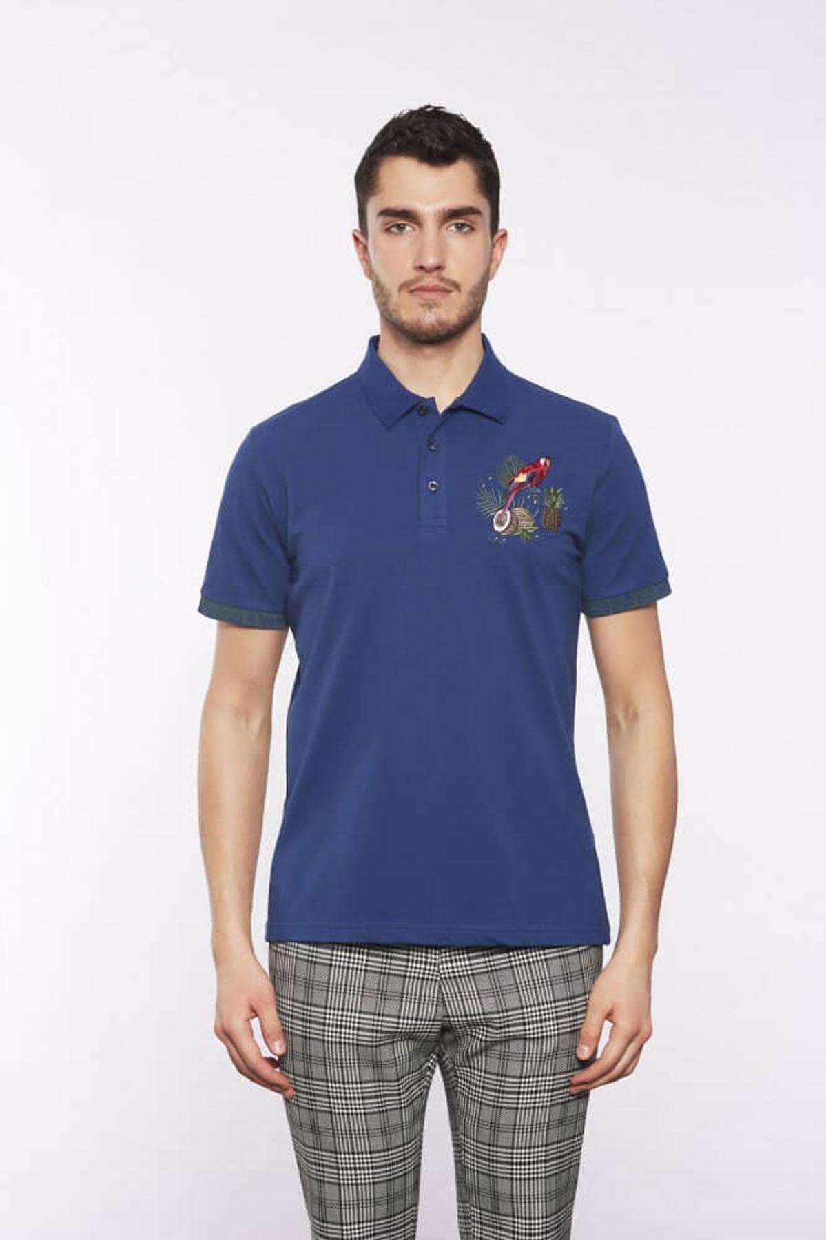 Polo Yaka Desenli Marine T-Shirt