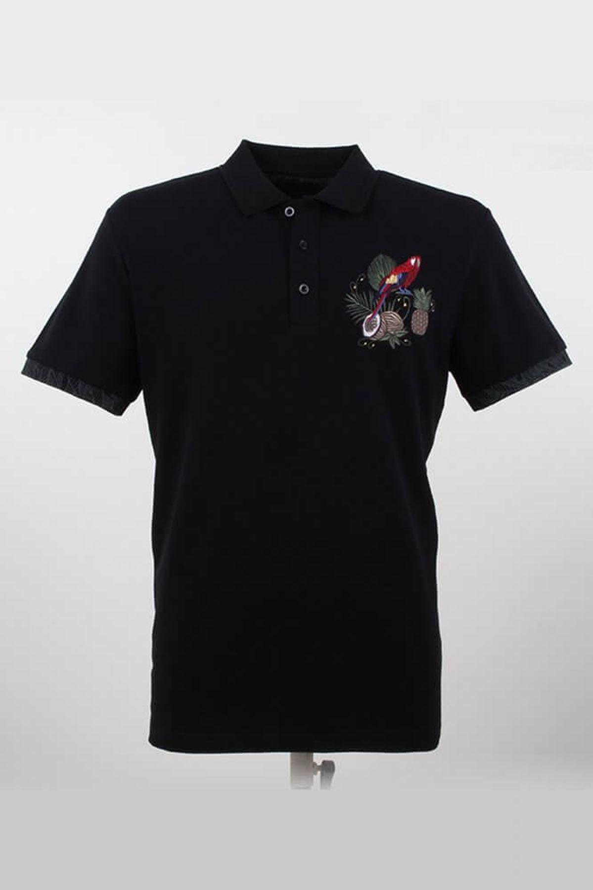 Polo Yaka Desenli Siyah T-Shirt