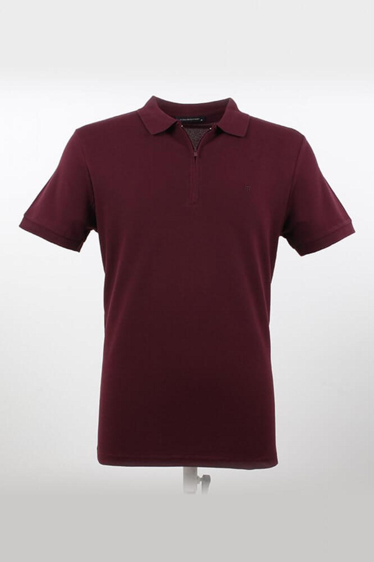 Polo Yaka Fermuarlı K.Bordo T-Shirt