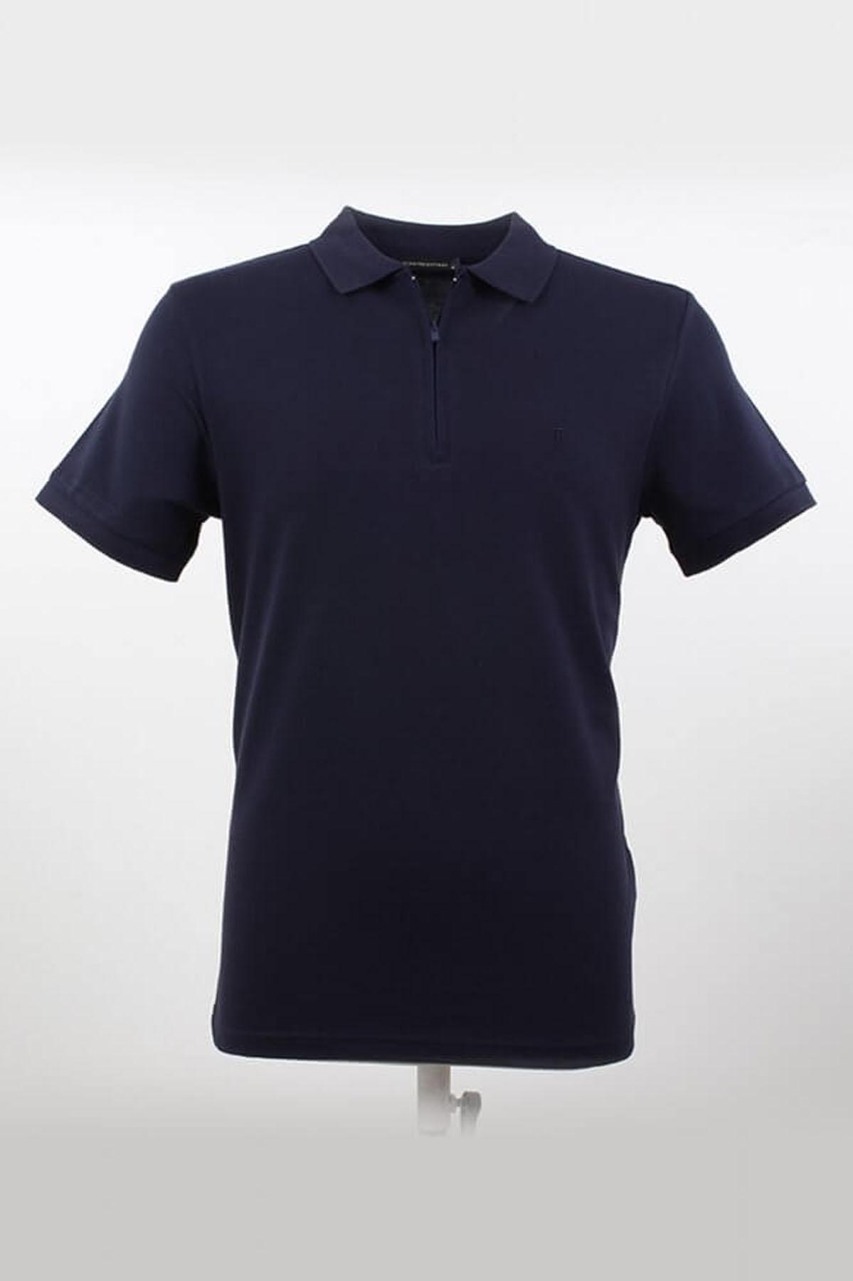Polo Yaka Fermuarlı Lacivert T-Shirt